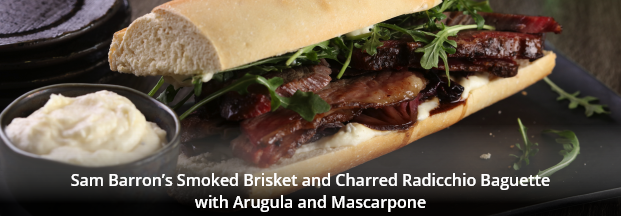 Sam Barron's Smoked Brisket and Charred Radicchio Baguette with Arugula and Mascarpone