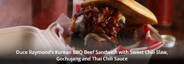 Duce Raymond's Korean BBQ Beef Sandwich with Sweet Chili Slaw, Gochujang and Thai Chili Sauce