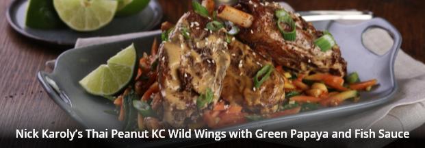 Nick Karoly's Thai Peanut KC Wild Wings with Green Papaya and Fish Sauce