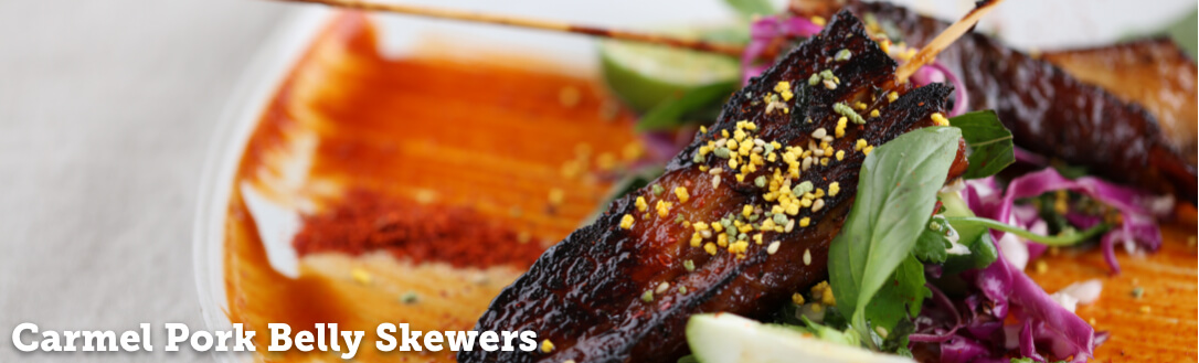 Carmel Pork Belly Skewers