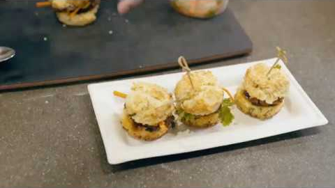 Bourbon Glazed Pork Belly Biscuit Sliders