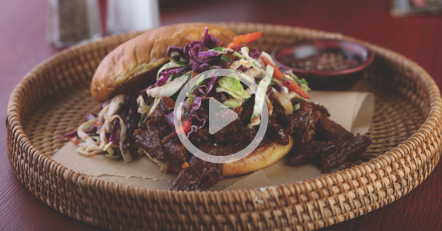 Korean BBQ Beef Sandwich with Sweet Chili Slaw