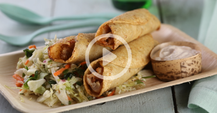 Smoked Chicken Flauta with Mexican Coleslaw