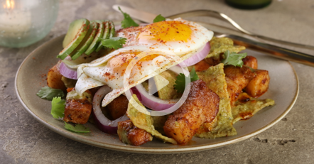 Smoked Pork Belly Chilaquiles