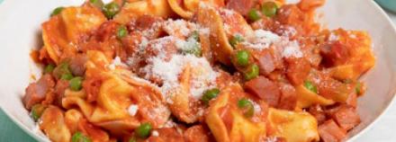 Ricotta-Filled Tortellini with Ham